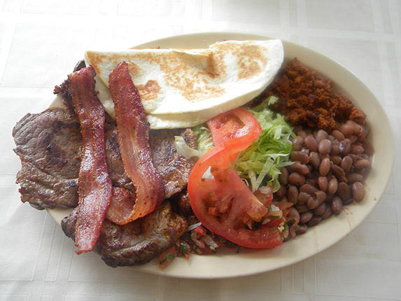 A meat-lover's dream. Bacon and beef plate at Tequila's Taqueria in Livermore and Willow Glen, CA