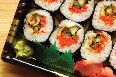 Choose from a variety of sushi rolls and sashimi at Bamboo Palace