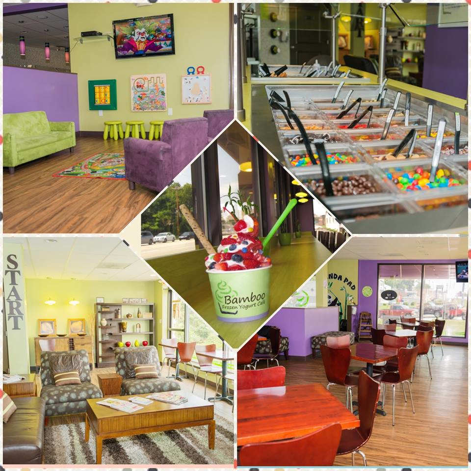 Bamboo Frozen Yogurt Cafe interior seating and toppings display