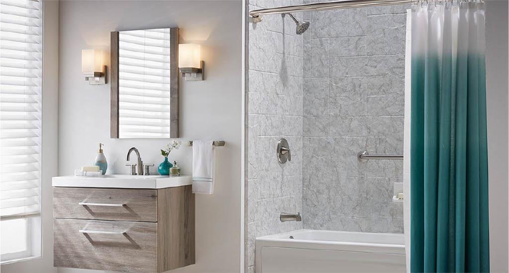 Beautiful modern bathroom with surround by Comfort Shower &  Bath