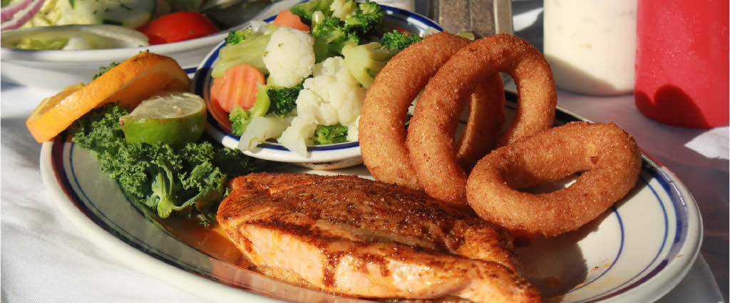 onion rings; broiled fish; salad near Atlanta, GA