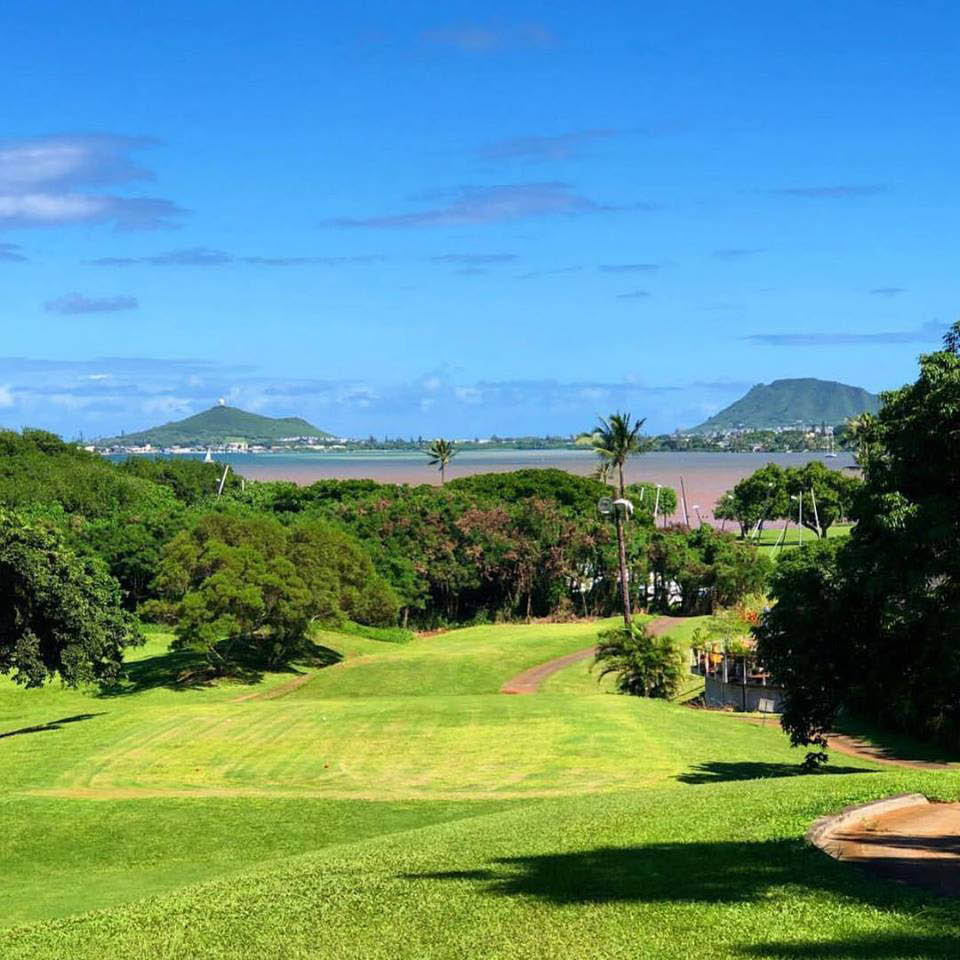 blue sky and green grass at the Bayview Golf Course in Kaneohe, Oahu
