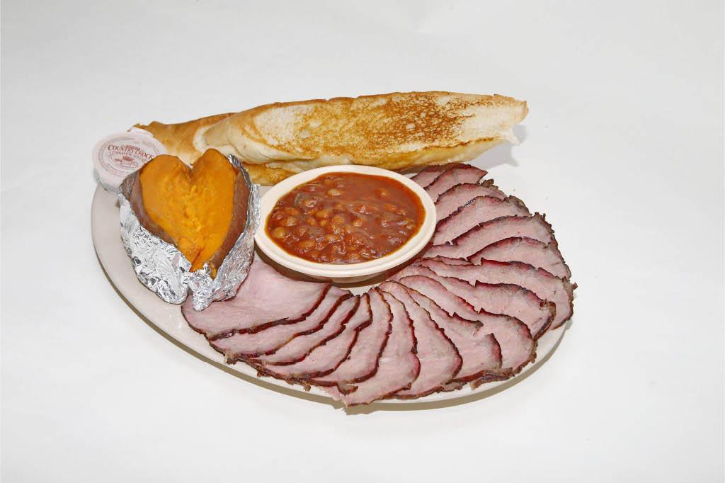 sliced ham; sweet potato; bread