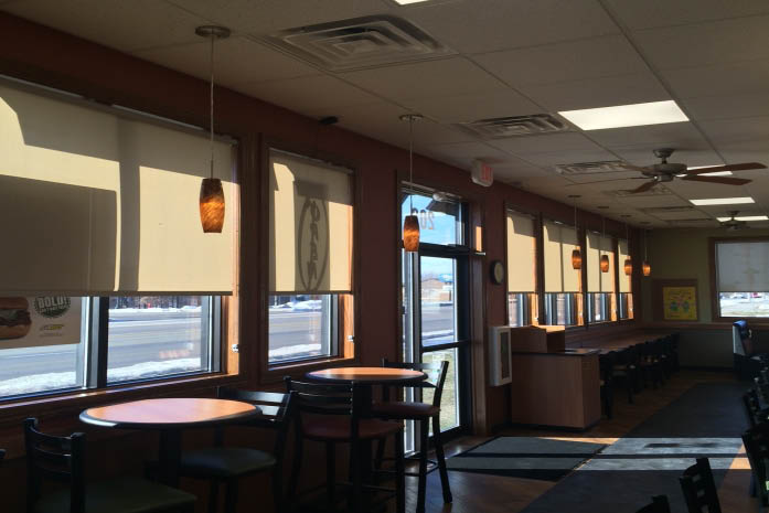 subway office in Des Moines, IA with window covering by Budget Blinds, Ankeny, Iowa; commercial window treatments