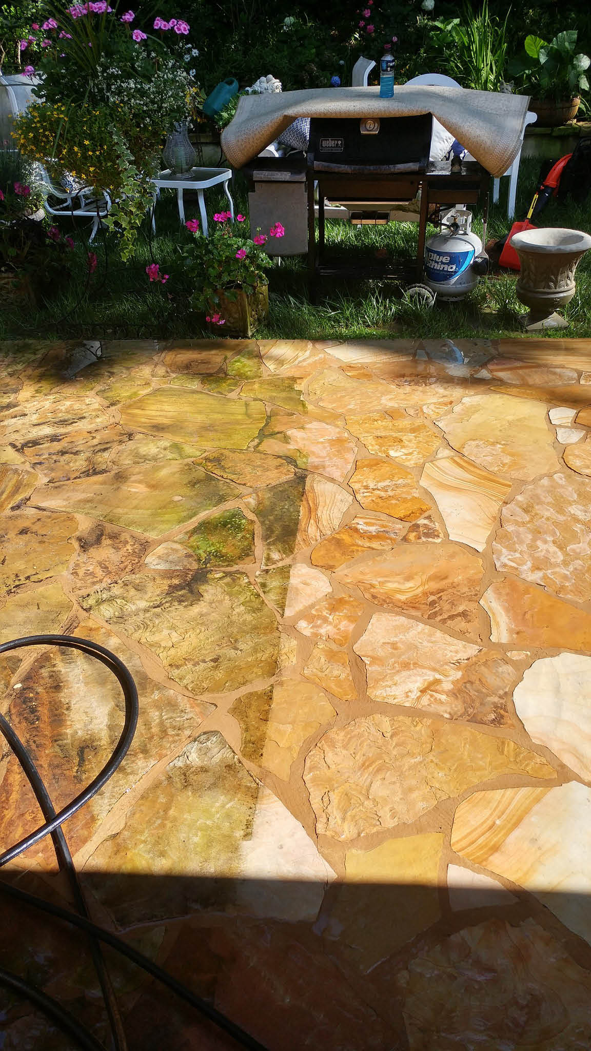 Patio power washing before and after
