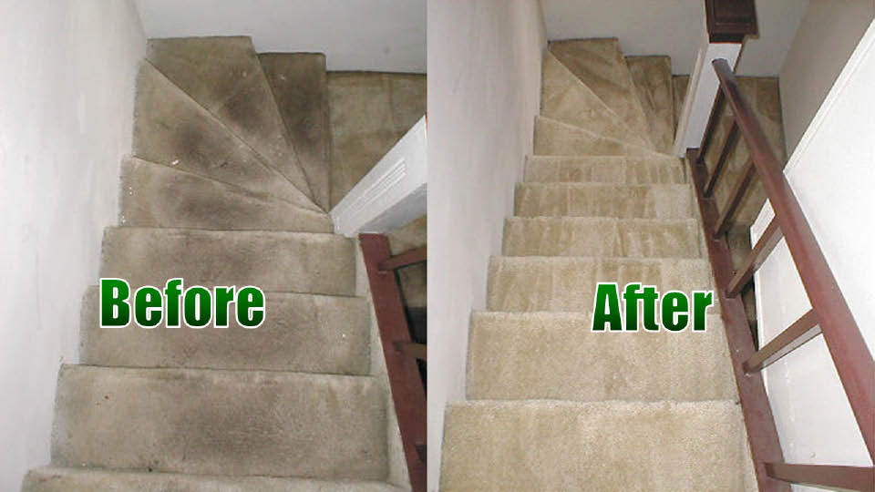 Before and after staircase cleaning by Ecosteam