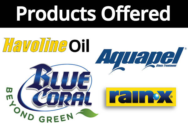 Product logos offered at Sehome Express Lube and Sehome Classic Car Wash: Havoline Oil, Aquapel, Blue Coral Beyond Green and Rain X.