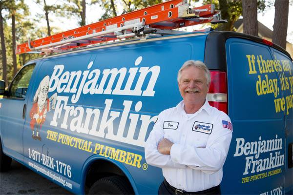Ben Franklin Plumbing truck in Indianapolis
