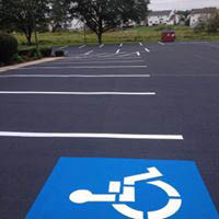 Line striping parking lots is a specialty of Berks Sealcoating in Fleetwood, PA