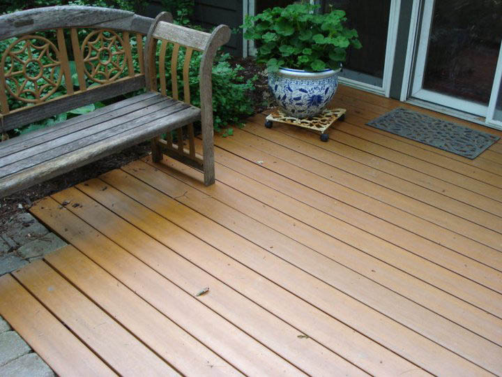 Deck installation and wood staining near Crystal Lake