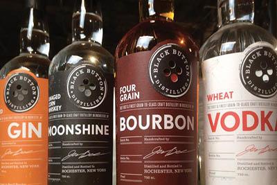 bourbon, gin, vodka, bourbon cream locally distilled in rochester ny