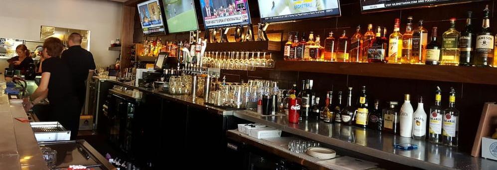View of bar at Black Oak Grill in Oak Lawn, Il.