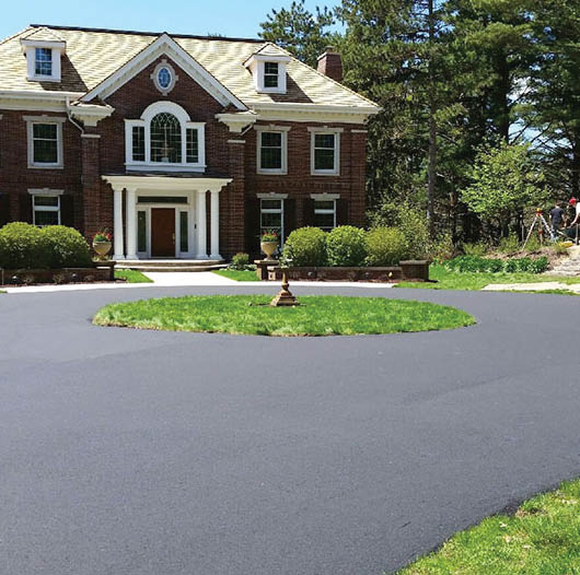 Circular asphalt driveway