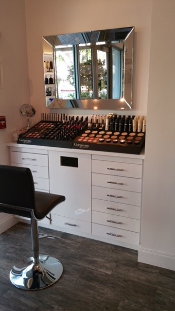 makeup station at The Blowzone in Jupiter, FL; bridal makeup