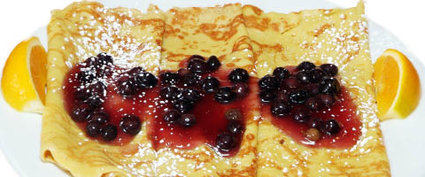 Our home made fresh Blueberry Hill crepes