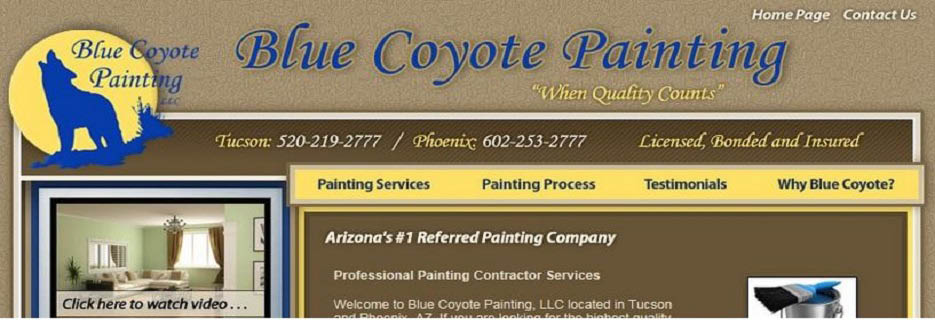 Blue Coyote Painting in Tucson, AZ Banner ad