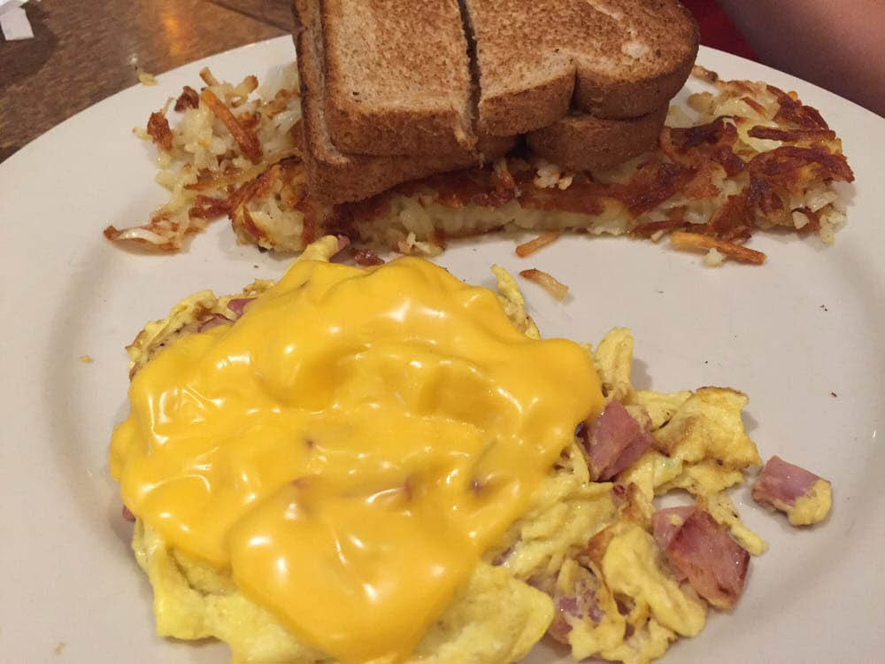 Start your day with a hot breakfast meal at Blue Moon Diner