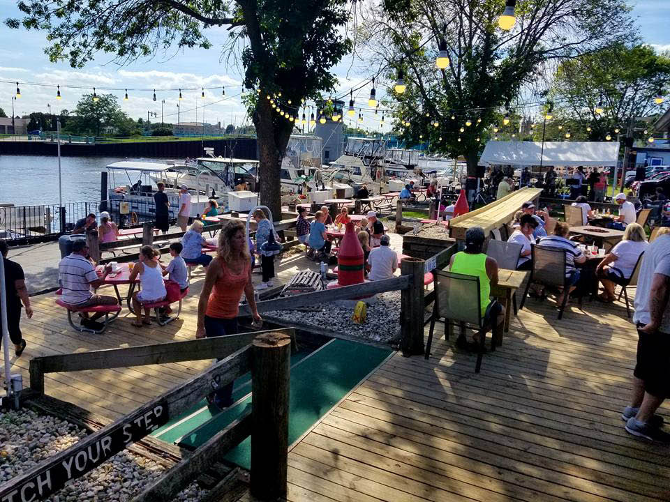 Boosters's Buoy Dock outside bar and patio near Kenosha, WI