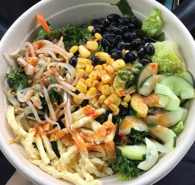 Healthy kale bowl with vegetables near Westchase
