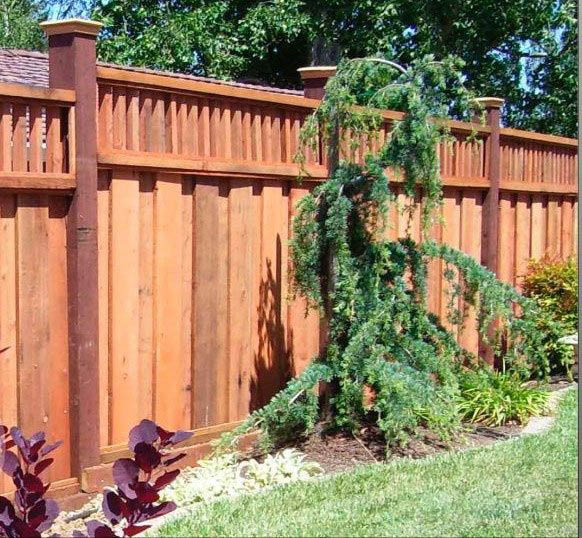 redwood fencing with capped posts installed by Lifescaping Outdoors in Sacramento, CA; wood fences