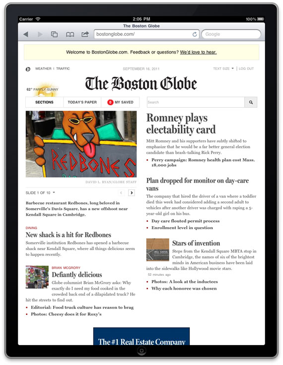 Read the Boston Globe newspaper on your tablet