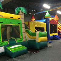 Inflatable bounce houses and slides