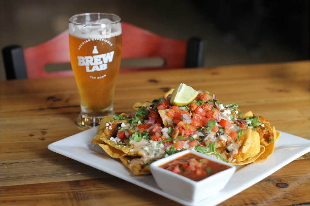 Brew lab Nachos and beer