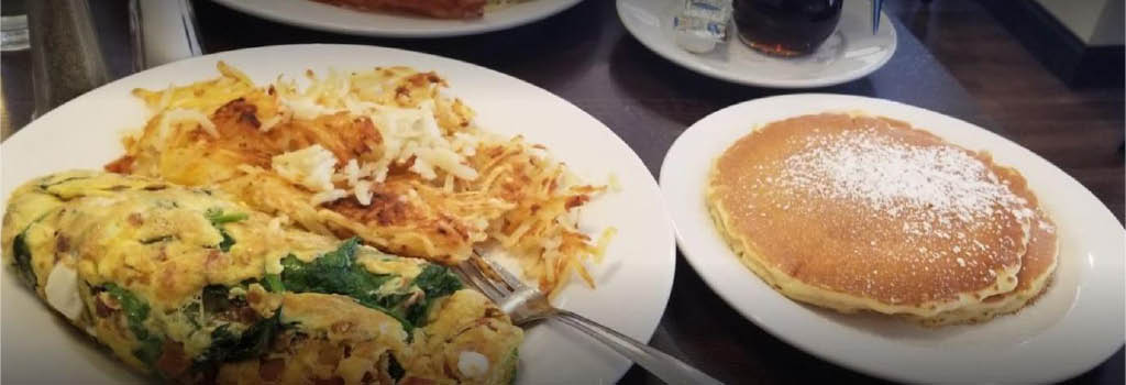 Omelette and pancakes served up at Broadview Family restaurant.