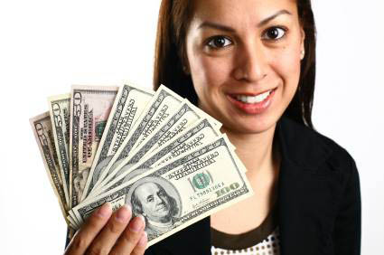 Woman with cash from Brother Loan & Finance.