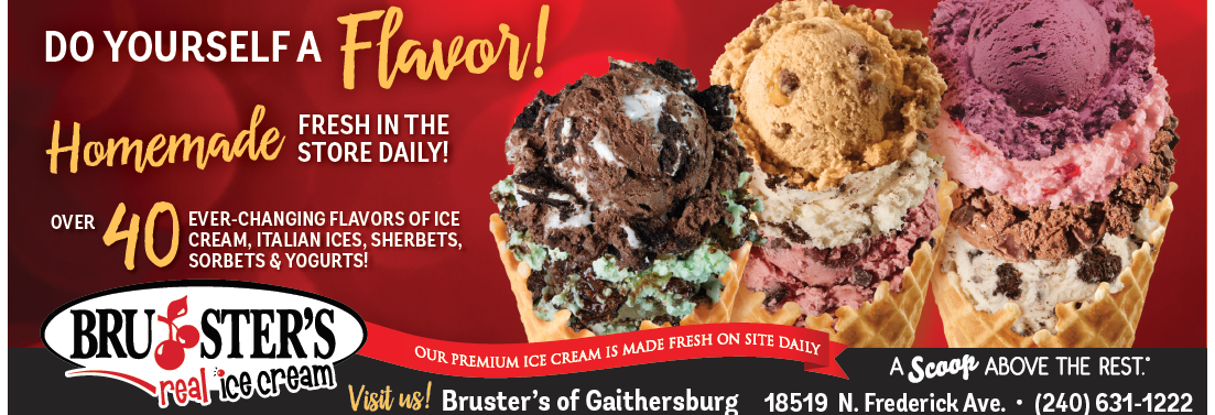 Bruster's Ice Cream in Gaithersburg MD, waffle and ice cream cones, ice cream sundae