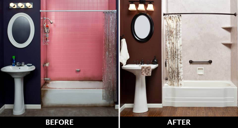 Before & after pictures - get rid of dirty old tiles with seamless walls