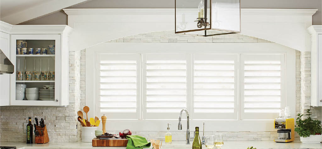 Budget Blinds Fabric wooden shutters for Windows