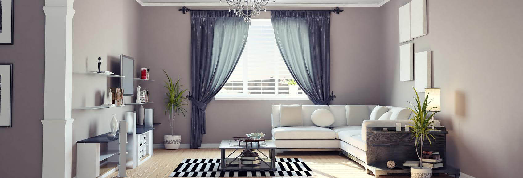 Beautiful Budget Blinds draperies frame the windows and highlight the room banner