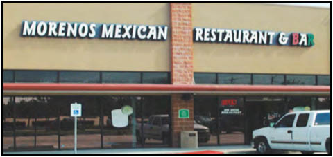 Moreno's Mexican restaurant frontage at 2407 W Parkwood Ave