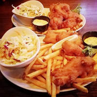 fried chicken tenders and french fries; Bulldog Alehouse