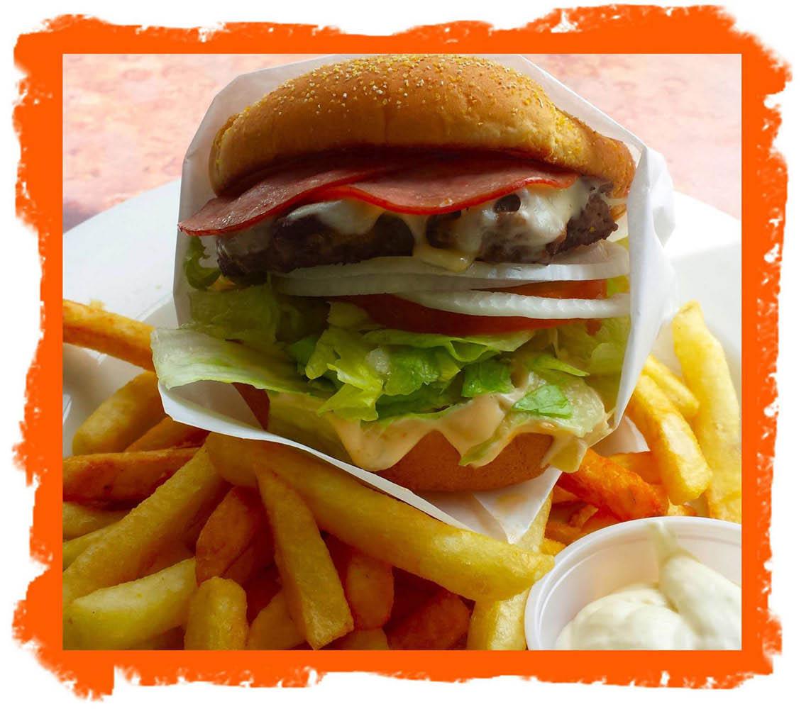 Burger and Fries at Park Bowl restaurant in Bellingham