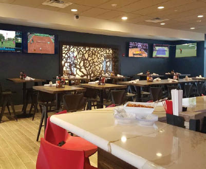 Modern interior of Burger Theory located in the Holiday Inn Joliet Southwest