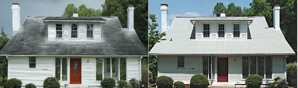 Before & After Roof Cleaning by Burrini's Power Washing in Randolph NJ