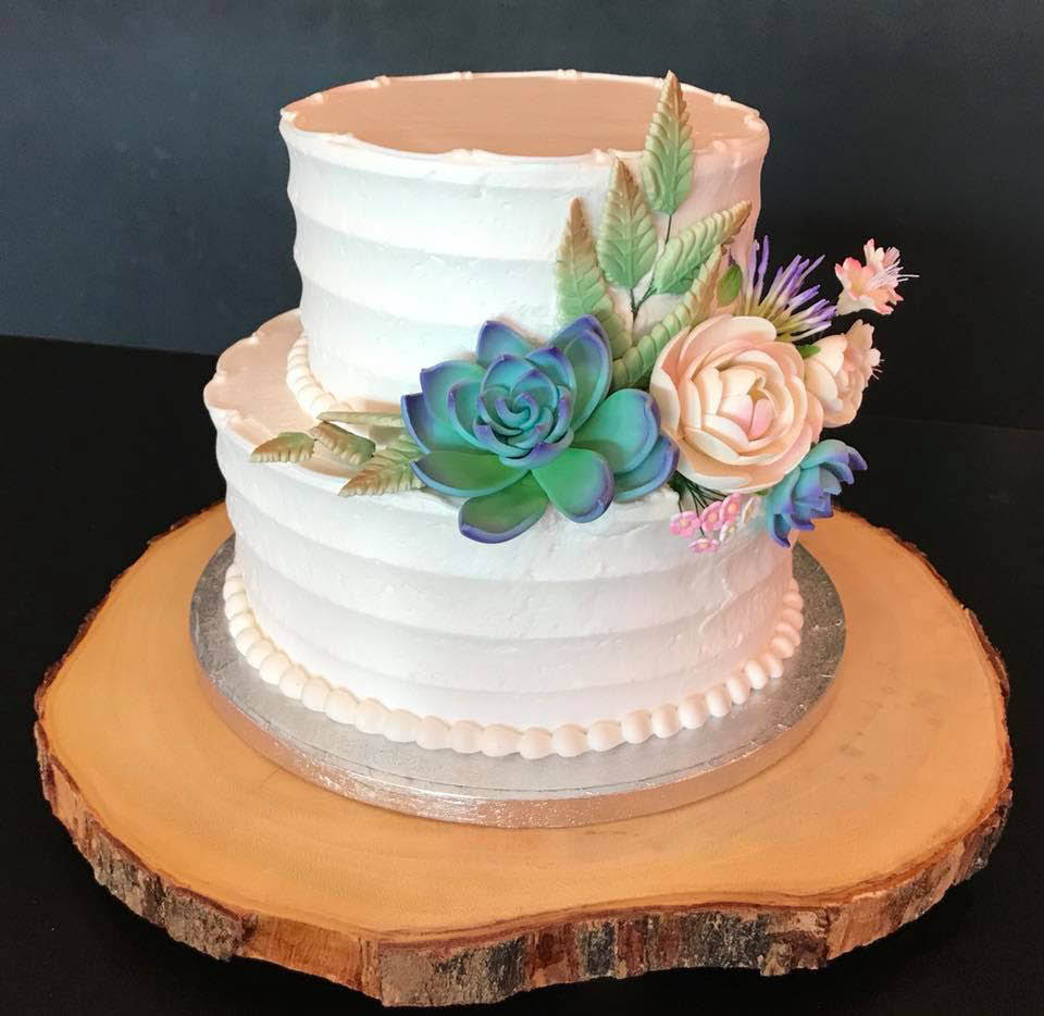 wedding-cake-anniversary-white-two-tiered-flower-icing-Cupcake-Amore-bakery