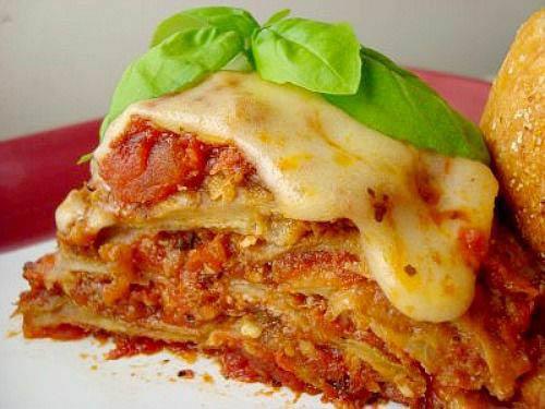 Overstuffed and piled-high lasagna