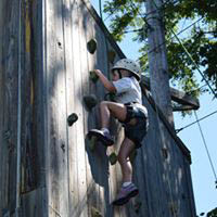 Camp Hillcroft offers activities including the climbing wall