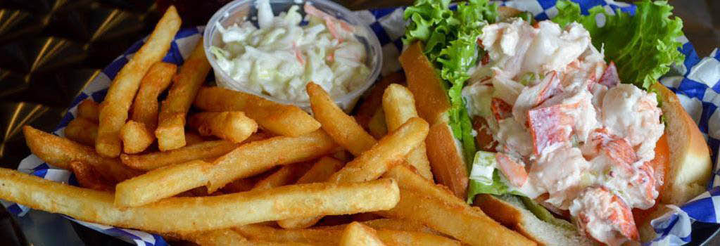 Seafood Salad, French Fries and Cole Slaw banner