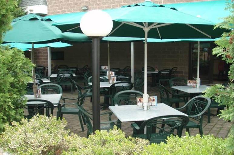 outdoor dining at Carlucci's West Windsor Township, NJ; eggplant parmigiana,veal parmigiana,chicken parmigiana