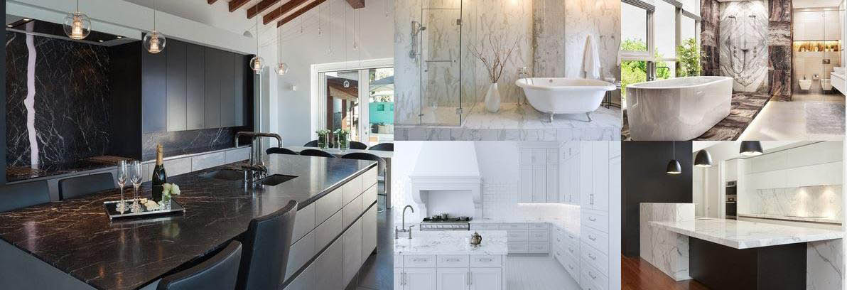 Custom Kitchen & Bathroom Carrara Italian Marble Import installations banner