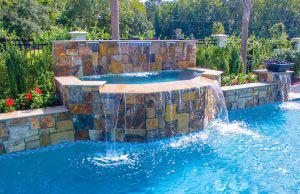 Cascade waterfall in swimming pool