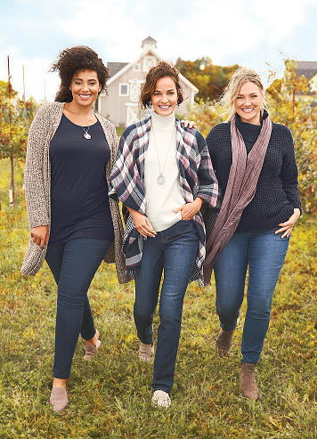 three women sporting trendy & affordable Christopher and Banks clothing