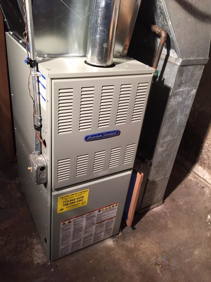 Furnace installation by Chatham Comfort Cooling.