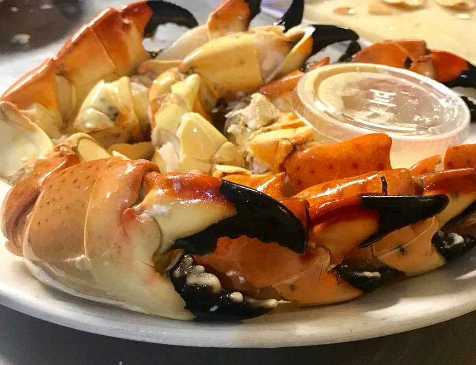 fresh Florida stone crabs with butter
