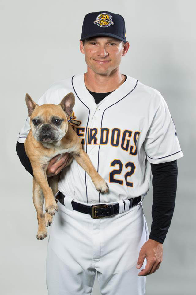 Our beloved RiverDogs mascot with a beloved player