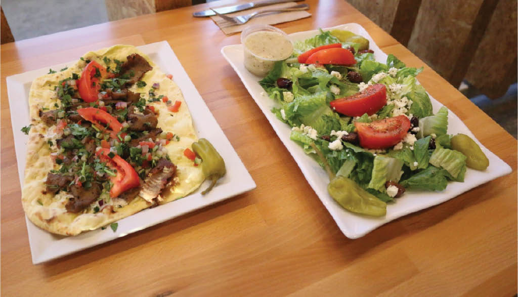 Open Gyro sandwich and salad